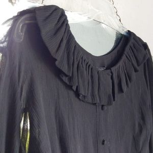 TALBOTS Silk Sheer Black Blouse w/ Cami Wms Sz 24W